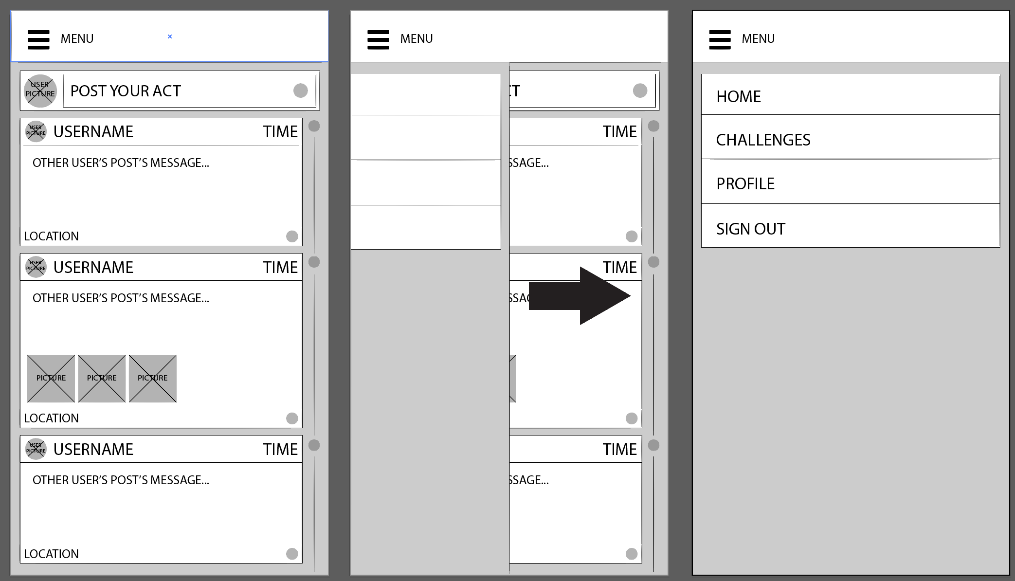 menu wireframes