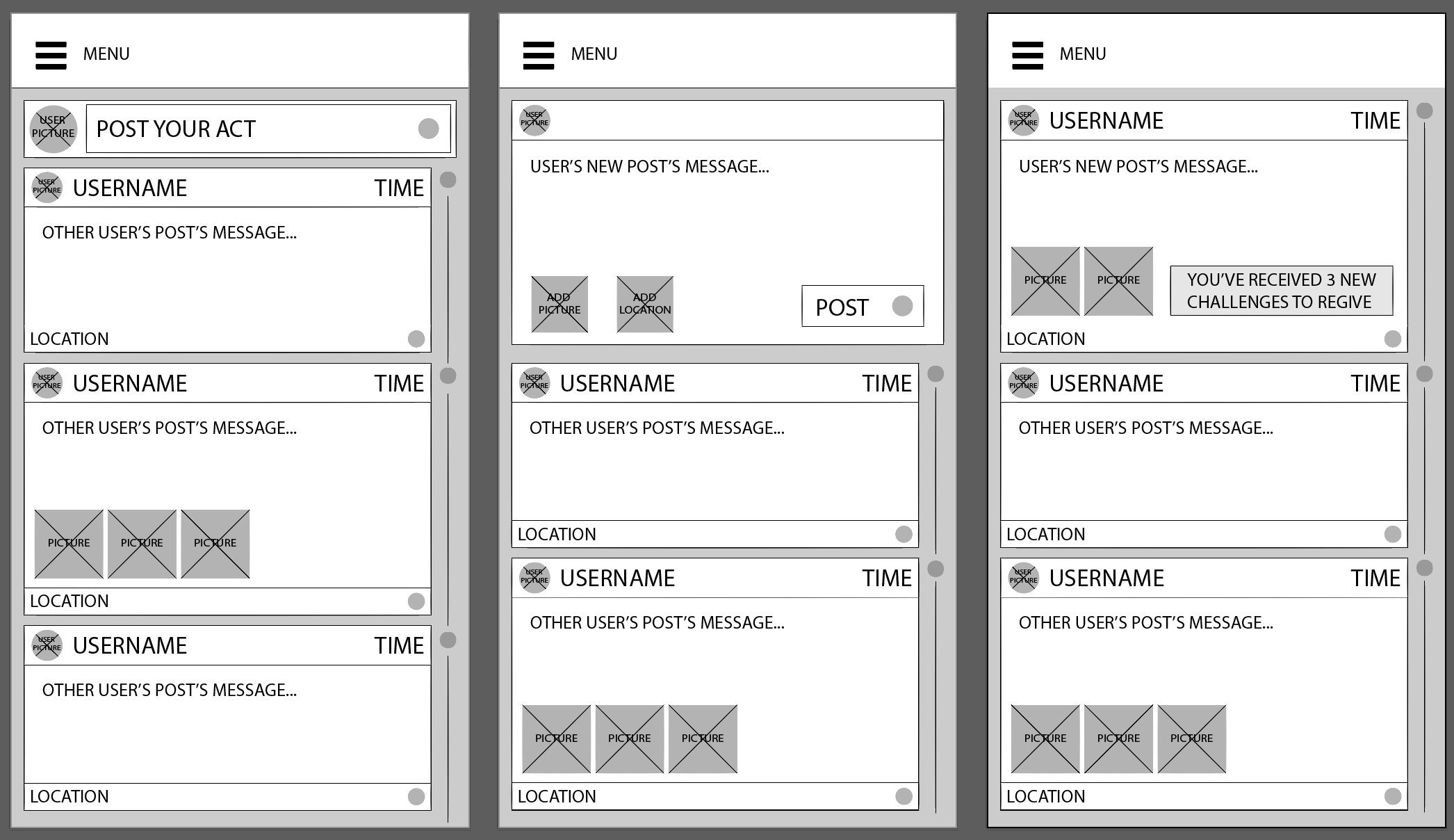 user post flow wireframes